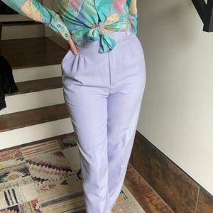 Vintage 80s lavender linen high waisted pants